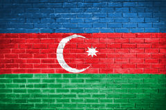 Azerbaijan flag,wall texture background Stock Photo