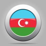 azerbaijan flagga Skinande knapp för metallgrå färgrunda stock illustrationer