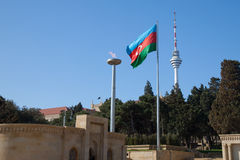 azerbaijan flagganational Arkivfoto