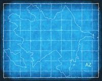 Azerbaijan map blue print artwork illustration silhouette Royalty Free Stock Photography