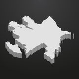 Azerbaijan map in gray on a black background 3d Stock Image