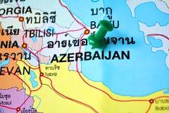 Azerbaijan map. Macro shot of azerbaijan map with push pin Royalty Free Stock Image