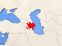 Azerbaijan on map Royalty Free Stock Photography