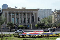 Azerbaijan National Academic Drama Theatre with Fizuli Monument in front Stock Photography