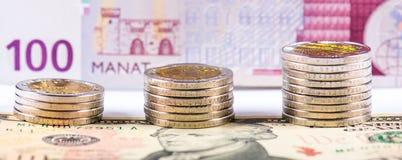 Azerbaijan national currency devaluation Stock Photo
