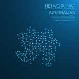 Azerbaijan network map. Royalty Free Stock Image