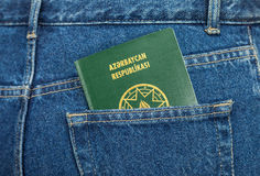 Azerbaijan passport in the jeans pocket Stock Image