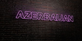 AZERBAIJAN -Realistic Neon Sign on Brick Wall background - 3D rendered royalty free stock image Stock Image