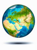 Azerbaijan on Earth with white background. Azerbaijan in red on model of planet Earth hovering in space. 3D illustration isolated on white background. Elements royalty free stock images