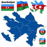azerbaijan set vektor illustrationer