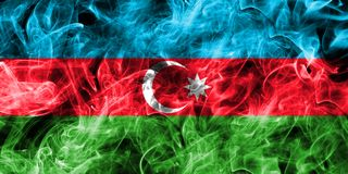 Azerbaijan smoke flag isolated on a black background.  Royalty Free Stock Images