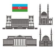 azerbaijan tła granic kraj wyszczególniać flaga ikony odizolowywali regionu ustalonego kształta biel Odosobniona Azerbejdżan arch Ilustracji