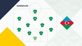Azerbaijan team preferred system formation 4-2-3-1, Azerbaijan football team background for European soccer competition.  royalty free illustration