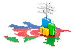Azerbaijan travel concept. Map with suitcases and signpost, 3D r. Endering Stock Photography