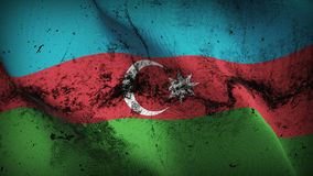 Azerbaijan grunge dirty flag waving on wind. Azerbaijani background fullscreen grease flag blowing on wind. Realistic filth fabric texture on windy day Royalty Free Stock Image
