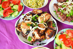 Azerbaijani chicken skewers Royalty Free Stock Images