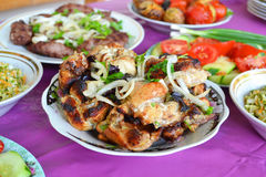 Azerbaijani chicken skewers Royalty Free Stock Image