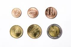 Azerbaijani coins on a white background royalty free stock photos