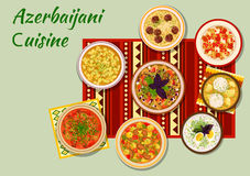 Azerbaijani cuisine dishes for dinner menu icon Royalty Free Stock Photos