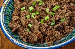 Azerbaijani dish Ezma. Ezma - Azerbaijani dish of lamb liver Royalty Free Stock Photos