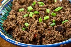 Azerbaijani dish Ezma. Ezma - Azerbaijani dish of lamb liver Royalty Free Stock Images