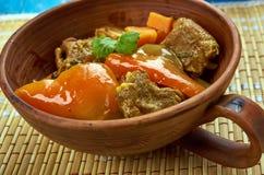 Azerbaijani dish Tava. Tava ety - Azerbaijani dish with lamb Stock Photo