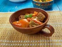 Azerbaijani dish Tava. Tava ety - Azerbaijani dish with lamb. , close up Stock Photography