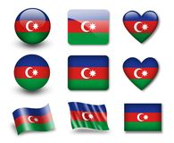 The Azerbaijani flag. Set of icons and flags. glossy and matte on a white background Royalty Free Stock Images