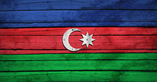 Azerbaijani flag painted on wooden boards Royalty Free Stock Photo