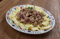 Azerbaijani Guru Khingal. Caucasian pasta with fried chopped meat Stock Image