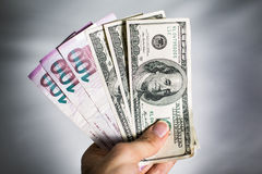 Azerbaijani Manat and Dollar Royalty Free Stock Photography