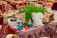 Azerbaijani national holiday Novruz.Zoroastrianism.Traditional holiday treats. Seeds, walnuts, dates. Azerbaijani national holiday Novruz.Zoroastrianism royalty free stock image