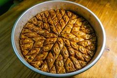 Azerbaijani Pahlava in Baking Tray stock image