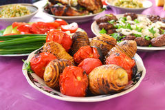 Azerbaijani skewers of potatoes and tomatoes Royalty Free Stock Photos