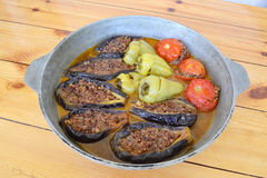 Azerbaijani stuffed eggplant, paper and tomatoes. Stuffed with meat Stock Images