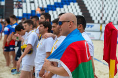 Azerbaijani team on the field. MOSCOW, RUSSIA - JULY 22-23, 2017: Rugby players in action at the on European Beach Fives Rugby Championship 2017 at the stadium Stock Photography