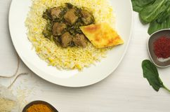 Azerbajani pilaf dish on white table royalty free stock photos