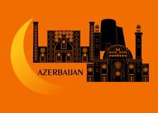 Azerbajdzjan och måne Arkivbilder