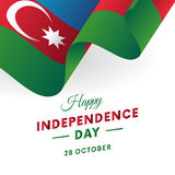 Azerbajdzjan självständighetsdagen 28 Oktober Våg flagga vektor Arkivbilder