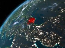 Azerbeidzjan op aarde in ruimte bij nacht Royalty-vrije Stock Fotografie