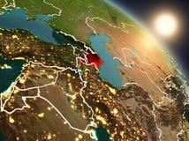 Azerbeidzjan van ruimte tijdens zonsopgang Stock Afbeelding