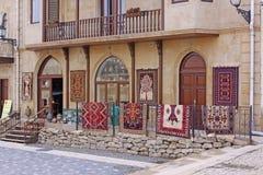 Azerbejdżan baku Veiw miasto ulicy stare miasto Dywanu sklep zdjęcie stock