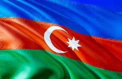 Azerbejdżan flaga 3D falowania flaga projekt Krajowy symbol Azerbejdżan, 3D rendering Obywatelów kolory i Krajowa CIS flaga obrazy royalty free