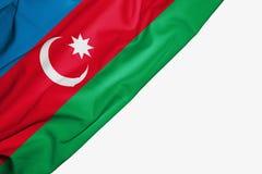 Azerbejd?an flaga tkanina z copyspace dla tw?j teksta na bia?ym tle royalty ilustracja