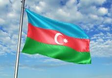 Azerbejdżan zaznacza falowanie z niebem na tło realistycznej 3d ilustraci royalty ilustracja