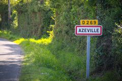 Azeville, road sign of the city stock photo