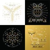 Azevinho ajustado dos cervos da quinquilharia do ouro do esboço do Feliz Natal Fotos de Stock Royalty Free