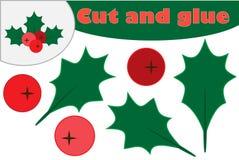 Azevinho da baga do visco do Natal, jogo da educação para o desenvolvimento de crianças prées-escolar, tesouras do uso e colagem  ilustração royalty free