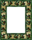 Azevinho da beira do Natal e frame da fita Imagens de Stock Royalty Free