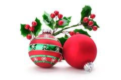 Azevinho do Natal com esferas Imagens de Stock Royalty Free
